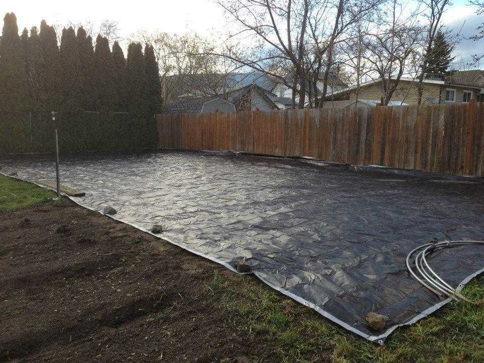 One of Curtis's tarped plots. The beginning stages of conversion from lawn to farm.