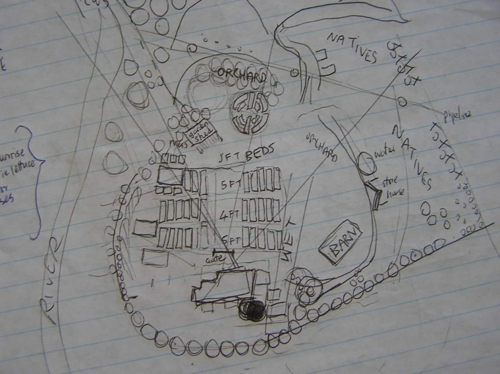 Original sketch of the farm plan 2004